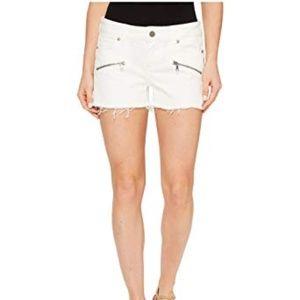 NWT Paige Indio Zip Denim Shorts In Optic White